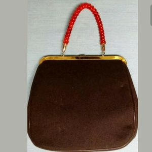 Unbranded Bags - Vintage Beaded Fabric Handbag Purse Leaves/Acorns
